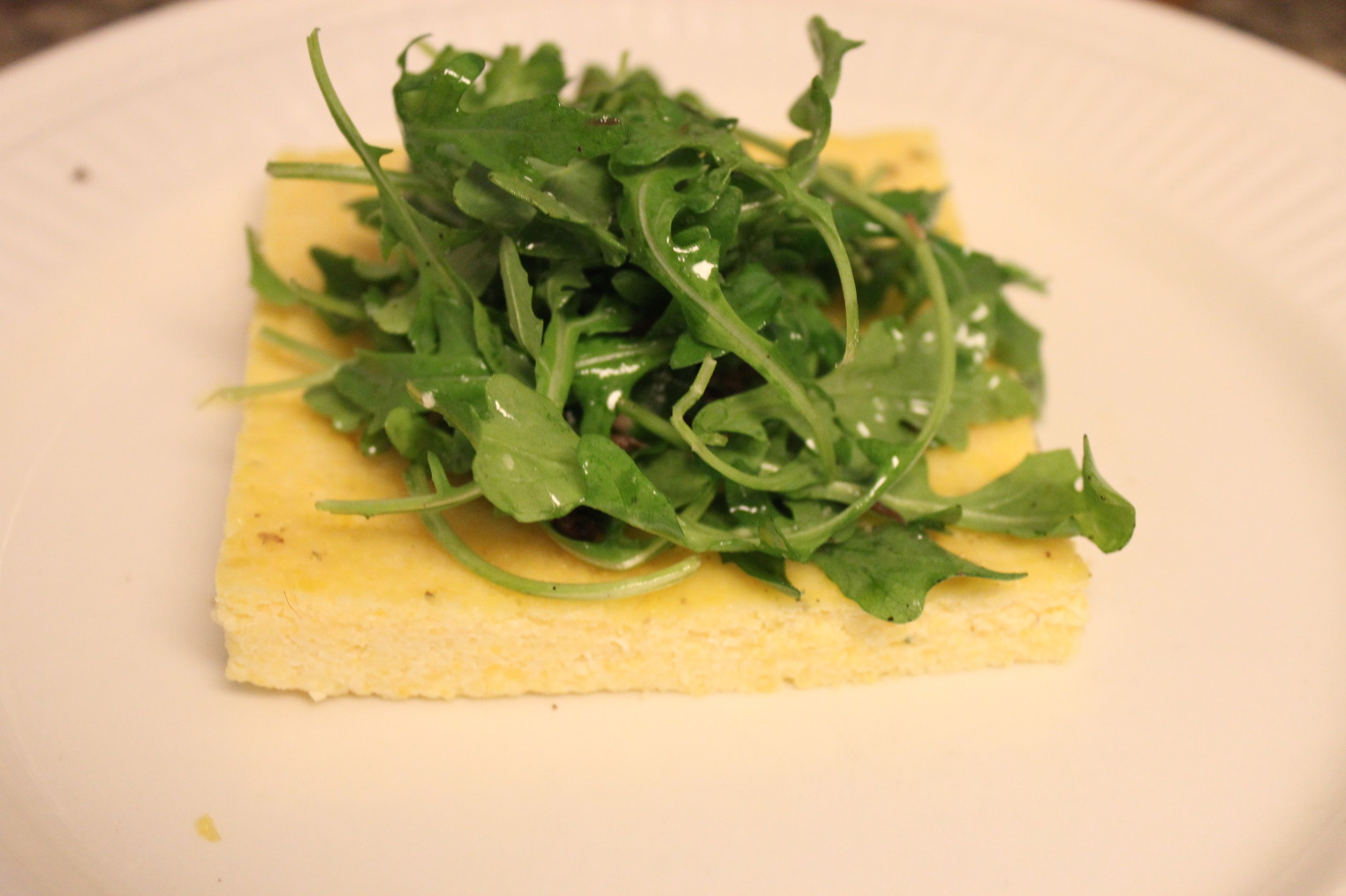 Braised Short Ribs And Arugula On Polenta Cake Recipe